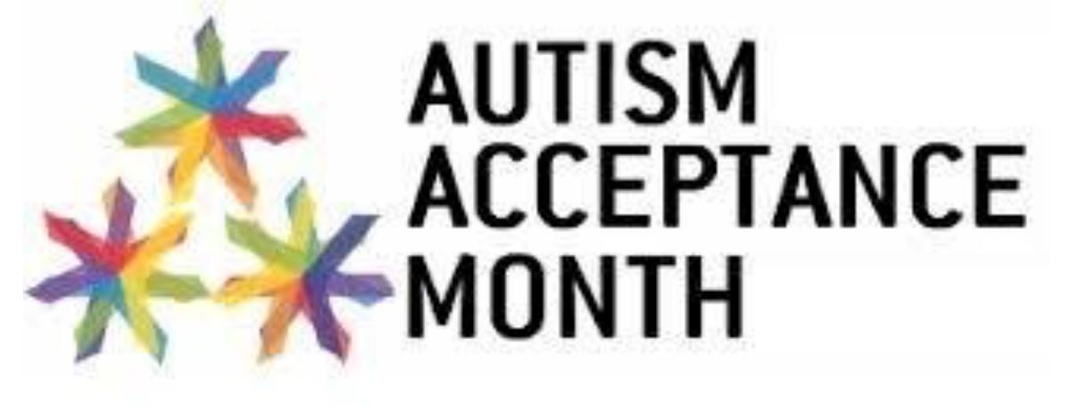 "Three rainbow stars with ""Autism Awareness Month"""