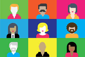 Online meeting image - cartoon image of nine people in equal sized squares. Each square has a different color background and a cartoon person, all of different skin colors, hair colors, and shirt colors.