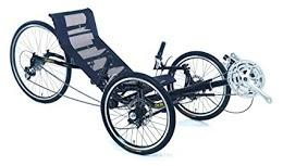 Recumbent Tricycle - this is a three wheeled bike with a blue seat that has pedals that can be manipulated by a person's hands if they are sitting in the seat.