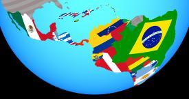 Globe highlighting Latin America