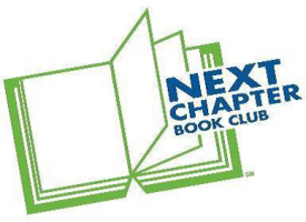 Logo - a green outline of a book with blue text that says Next Chapter Book Club
