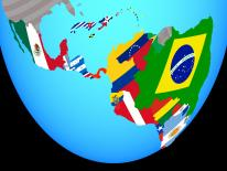 Image of a globe focused in on Latin America